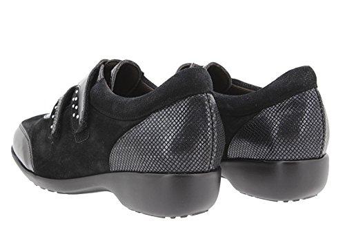 Calzado mujer confort de piel Piesanto 9676 zapato cordón casual cómodo ancho Negro