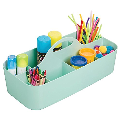 mDesign Art Supplies, Crafts, Crayons and Sewing Organizer Tote - Large, Mint Green