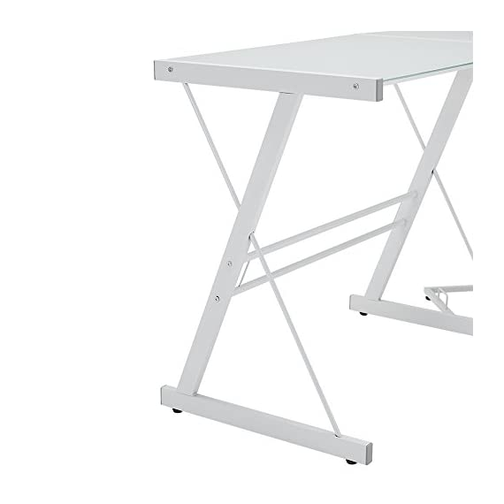 "New 51"" Corner Writing Computer Office Desk - White Metal & Tempered Glass - OVERALL DIMENSIONS - 51"" L x 51"" W x 29"" H Durable steel frame with powder-coated finish Polished and beveled, tempered safety glass - writing-desks, living-room-furniture, living-room - 41%2B 4OUegLL. SS570  -"
