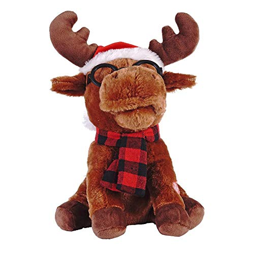 Home Accents Dancing and Singing Jingle Bells 12 in. Plush Moose with Moving Head and Mouth Animated Gift (Goat Singing Christmas)