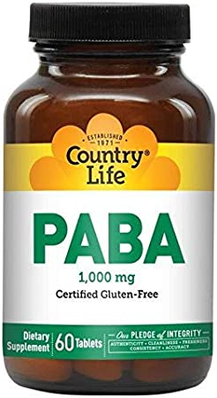 Country Life PABA 1000mg - 60 Tablets - Healthy Hair & Skin - Antioxidant - Anti-inflammatory - Fight Fatigue
