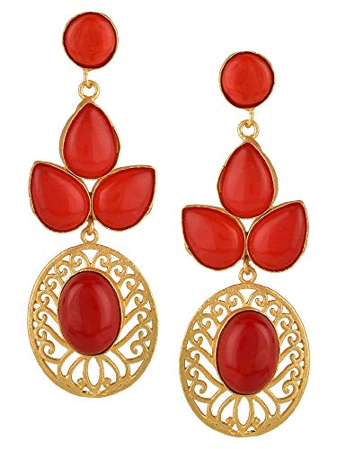 (Efulgenz Indian Bollywood 14K Gold Plated Crystal Coral Pearl Leaf StyleBi Dangle Earrings Jewelry Set )