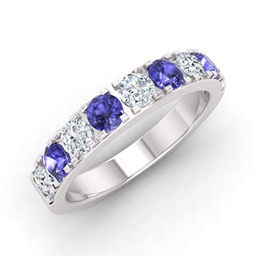 Diamondere Natural and Certified Tanzanite and Diamond Wedding Ring in 10K White Gold |1.01 Carat SI1-SI2Quality Half Eternity Stackable Band for Women, US Size 7.5 - Tanzanite White Gold Band
