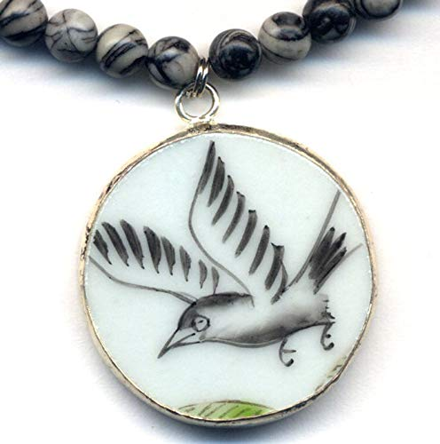 Bird Pendant Necklace, Black White China Necklace, Ming Pottery Style Shard Pendant, Raven Bird Necklace, Zebra Jasper Necklace, Recycled Porcelain Jewelry by Annaart72