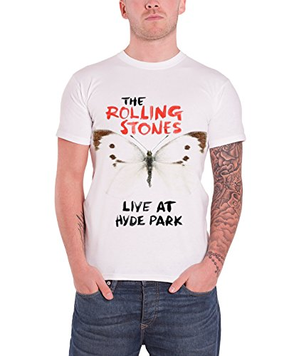 Rolling Stones Hyde Park Butterfly Official Mens New White T Shirt
