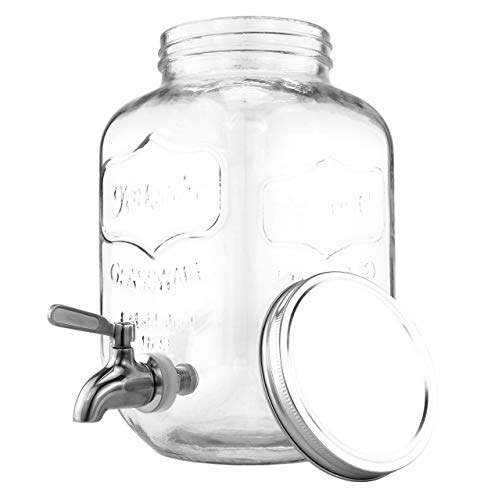 One Gallon Glass Mason Jar Beverage Dispenser w/Stainless Steel Spigot, Retro Yorkshire Style Jar, Clear Color ()