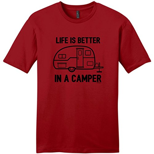 Price comparison product image Camper Accessories Teardrop Campers Life is Better in a Camper Camping RV RVing Young Mens T-Shirt Large ClRed