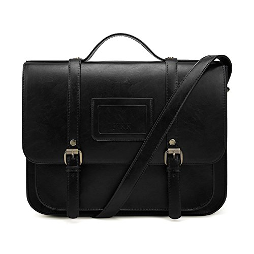 ECOSUSI Women Briefcase Vintage Crossbody Messenger Bag PU Leather Satchel Purse, Black