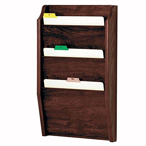 Wooden Mallet 3-Pocket File Holder, Letter Size, Mahogany