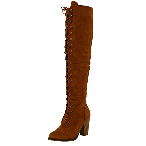 (Forever Camila-47 Women's Chunky Heel Lace Up Over The Knee Brown High Riding Boots,Tan Suede,8)