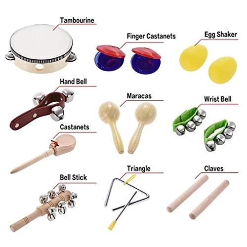 difcuyg5Ozw 10Pcs/Set Kids Musical Instrument Set Bell Maracas Castanet Percussion Rhythm Toy Music Enlightenment Kit