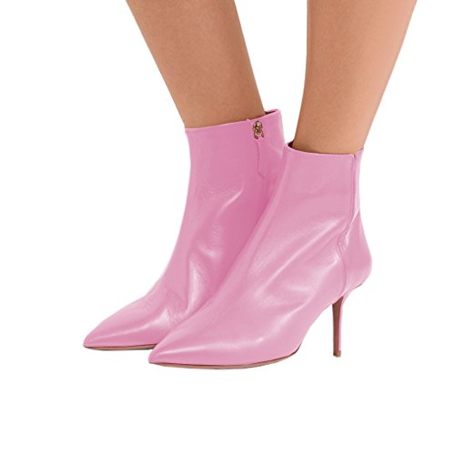 Lutalica Women's Pointed Toe Low Kitten Heel Zipper Comfort Dress Ankle Boots Shoes Pink Matte Y8MrWh3Q