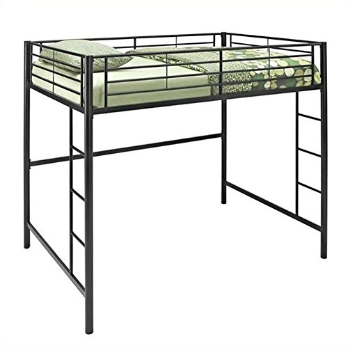 WE Furniture Full Size Metal Loft Bed, Back by WE Furniture