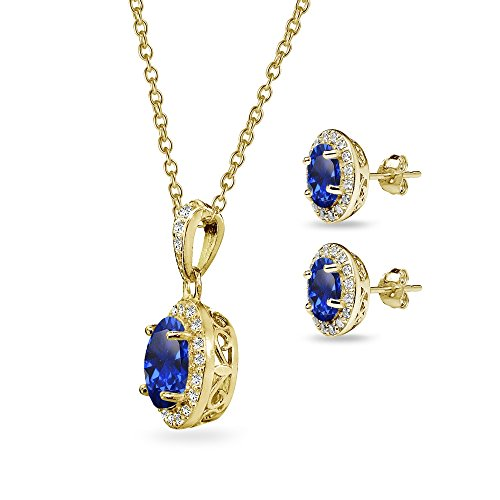 Gold Flashed Sterling Silver Genuine, Created or Simulated Gemstone & CZ Oval Halo Necklace & Stud E - http://coolthings.us