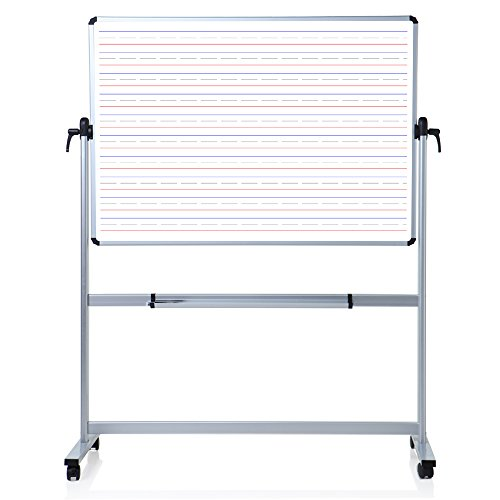 VIZ-PRO Double sided Magnetic Mobile Whiteboard, Penmanship Lines, 60 x 48 Inches by VIZ-PRO