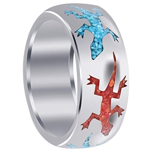 - Gem Avenue Mens 925 Sterling Silver Turquoise and Coral Inlay Lizard Pattern 9mm Band Ring Size 8