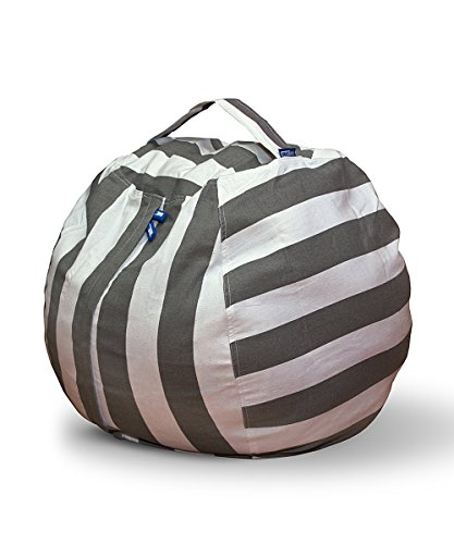 AMAZEYOU Stuffed Animal Storage Bean Bag Chair – Stuff 'n Sit – Premium Cotton Canvas – Comfy Pouf Organizer for Children and Kids (24'', Grey/White Striped) by AMAZEYOU
