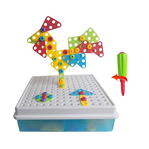Rompecabezas-3D-Bricolaje-Bloques-de-Construccin-Puzzle-Bandeja-el-Tablero-Creativos-Juguetes-la-Caja-para-Nios-de-3-Aos-129PCS