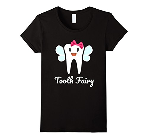 All Black Fairy Costume (Womens Tooth Fairy Halloween Costume T-Shirt XL Black)