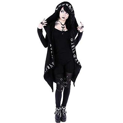 Gothic Decor, MILIMIEYIK Cardigan Jacket Women Plus Size Hooded Coat Long Sleeve Punk Moon Print Black Cloak: Clothing