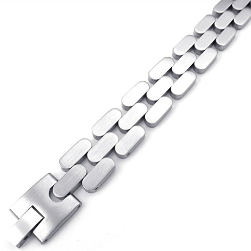 Epinki Stainless Steel Bracelet, Mens Tank Biker Link Bracelet Silver Length 8.5 Inch