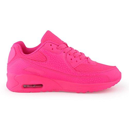 best-boots Unisex Damen Sneaker Fitness Laufschuhe Turnschuhe Runners Neu Neon-Pink (etwas kleiner)