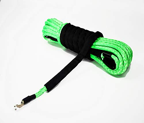 (Jutemill Synthetic Winch Rope| Winch Cable with Sheath for ATVs Winches| Jeep Accessories, UTV, SUV, Truck Tow/Trailer, Boat/Marine Ropes and Anchor | 3/8