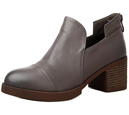 Frau Frühling Schuhe Damen Schuhe hochhackige Schuhe Leder Schuhe rund Schuhe Retro Damen Schuhe, US6/EU36/UK4/CN36
