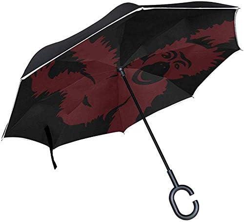 Alice Eva Umgekehrter Regenschirm-Tieraffe-Karikatur-hängender Dschungel-Schlüsselwort-Bild-Regenschirme Rückklappschirm-großer gerader Regenschirm