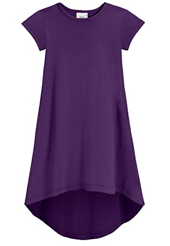 City Threads Girls Jersey Short Sleeve Hi Lo Maxi Dress Top Blouse Shirt Stylish Modern All Cotton for Sensitive Skins, Purple, - Jersey Blouse Cotton
