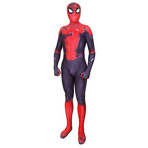 Silica Gel Spider Logo Unisex Lycra Spandex Zentai Halloween 2019 New far from Home New Spiderman Cosplay Costumes Adult/Kids (Adult-S, War Damage Edition)]()