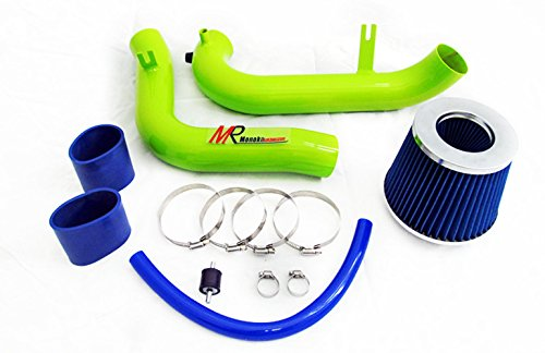 01 02 03 04 05 Honda Civic MT with 1.7L Engine (DX/LX/HX/EX/VP) GREEN Piping Cold Air Intake System Kit with Blue Filter