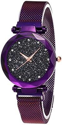 18d5675a5021 De Lujo para Mujer de Cuarzo Rhinestones Relojes-Moda Starry Sky Reloj de  Pulsera de Las señoras con Fina Correa magnética de Acero + Regalo A Pulsera