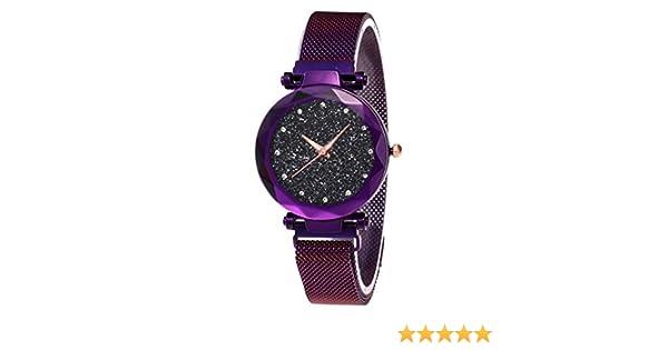 0a8c4458bb79 De Lujo para Mujer de Cuarzo Rhinestones Relojes-Moda Starry Sky Reloj de  Pulsera de Las señoras con Fina Correa magnética de Acero + Regalo A  Pulsera  ...
