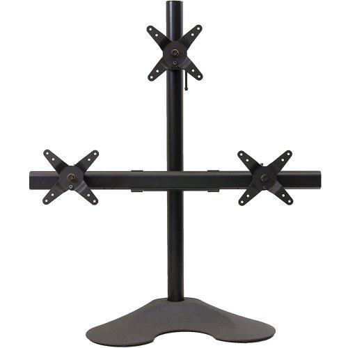 Ergotech 1 x 2 Triple Desk Stand with 28-Inch Pole - Black (100-D28-B12) (Ergotech Triple Desk)