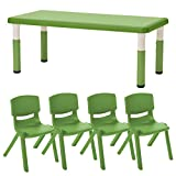 ECR4Kids 24'' x 48'' Rectangle Resin Activity Table with Four 16'' Resin Chairs - Indoor/Outdoor Kids Seating Set for Classrooms, Daycares, Playgrounds, Grassy Green