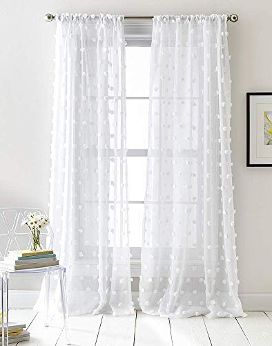 White Semi Sheer Window Curtains Textured Rod Pocket 84 inches Length Voile Curtain Set Pompom Panel Pairs Voile Sheer Curtains 1 Pair (Curtains Pom Pom)