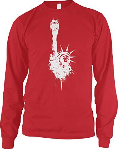 Amdesco Men's Vintage Faded Statue of Liberty Long Sleeve Shirt, Red ()