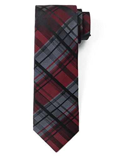 Origin Ties Classic Tartan Plaid Check Silk Tie 3'' Skinny Necktie (Designer Knit Suit)