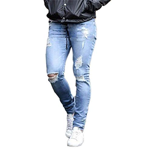 Pantaloni Da Strappati Hellblau Di Moda Casual Con Elasticizzati Jeans Giovane Uomo Nudi Attillati Aderenti Fitness Zip qSYp1