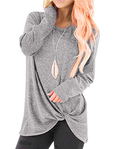 ZENUTA Women's Long Sleeve Lightweight Sweatshirt Pullover Tunic Tops Plus Size Gray (Long Sleeve Tee Distressed)
