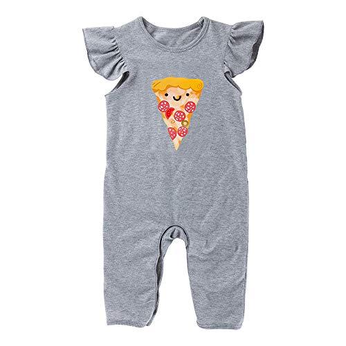 YukeBaby Infant Newborn Baby Girls Boy Pizza Printed Romper One-Piece Bodysuit Sleeveless Outfits Jumpers Gray (0-3 Months, Girls) (Pizza Onesie)