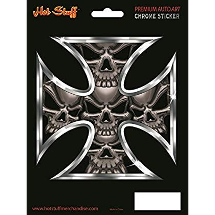 Iron cross skulls - chrome decal - embossed - brand new