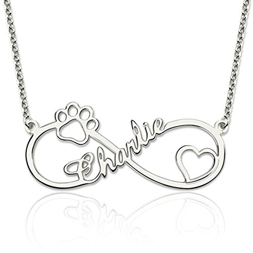 Personalized 925 Sterling Silver Dog Paw Infinity Necklace...