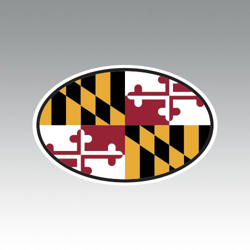 State Flag Oval Decal (Maryland State Flag Oval V4 Sticker - Die Cut - Decal - MD)