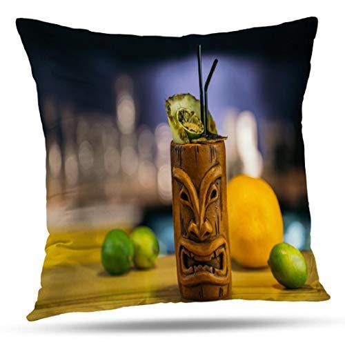 Kutita Tropical Decorative Pillow Covers, Drink Tropical Bar Cocktail Beach Summer Alcohol Throw Pillow Decor Bedroom Livingroom Sofa 18X18 inch