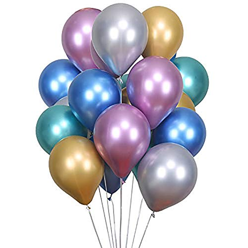 OOEOO Balloons for Party, 54Pcs Shiny Metallic Latex Balloons for Birthday Wedding Grad Party Halloween Christmas (Multicolor) -