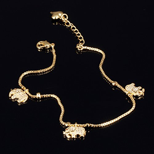Fashion Aanklets 18K Gold Tone Rhinestone Elephant Beach Foot Chain Aanklet for Women L8.19+1.5'' by LOHOME (Image #2)