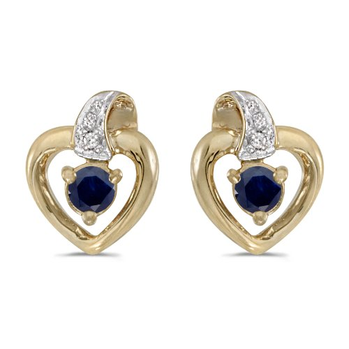 (14k Yellow Gold 3mm Round Sapphire & Diamond Heart Earrings )