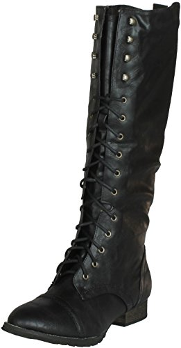 Breckelles AD47 Women Leatherette Military Combat Lace Up Knee High Boot - Black (Size: 11)